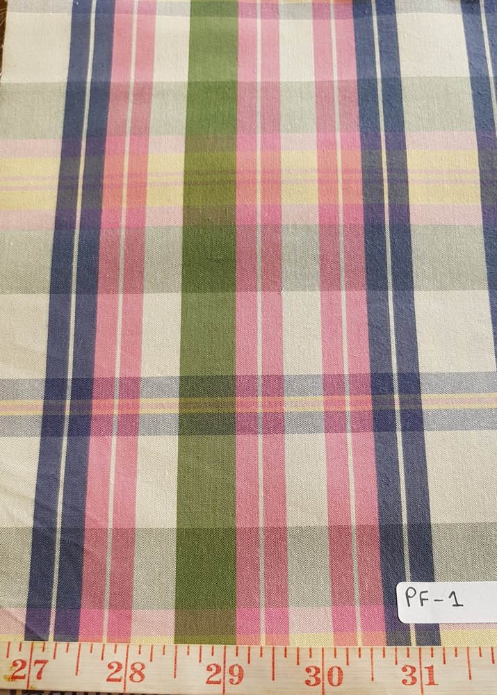 Madras Plaid Fabric made of cotton yarns woven in a plaid pattern, for men's jackets, ties, bowties, shirts and pet clothing. Also known as check fabrics.