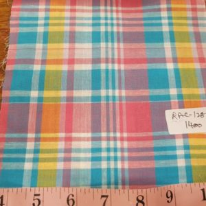 Madras Plaid Fabric made of cotton yarns woven in a plaid patter, for men's shirts, jackets, ties, bowties and plaid clothing. Also known as check fabrics.