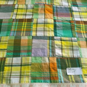 Patchwork Madras Fabric - cotton madras plaids cut and sewn into squares, to make a preppy fabric for plaid shirts, preppy style and ivy league fashion