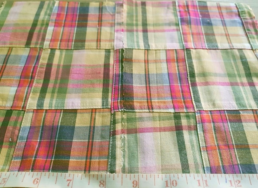 Patch Madras - A preppy fabric made of cotton plaid patches sewn together, perfect for Ivy League style madras shirts, jackets and ties.