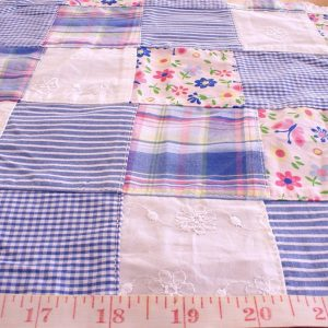 Printed Plaid Patchwork Fabric for children's clothing, girl's dresses, preppy summer apparel, quilting, crafts, and sewing projects for children.