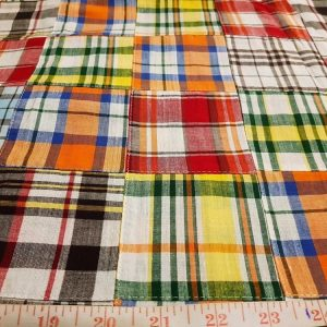 Patchwork Madras Fabric - cotton madras plaids cut and sewn into squares, to make a preppy fabric for plaid shirts, preppy style and ivy league fashion.