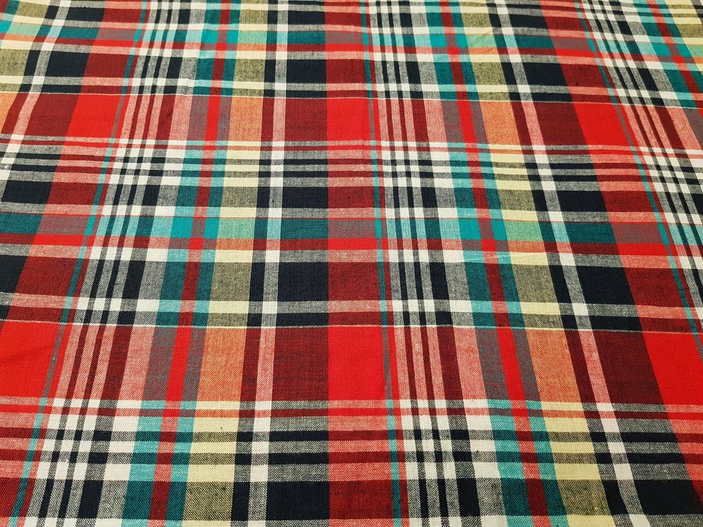 Preppy Plaid Fabric or cotton madras plaid fabric, for mens shirts, preppy clothing, sport coats, children's clothing and southern clothing.