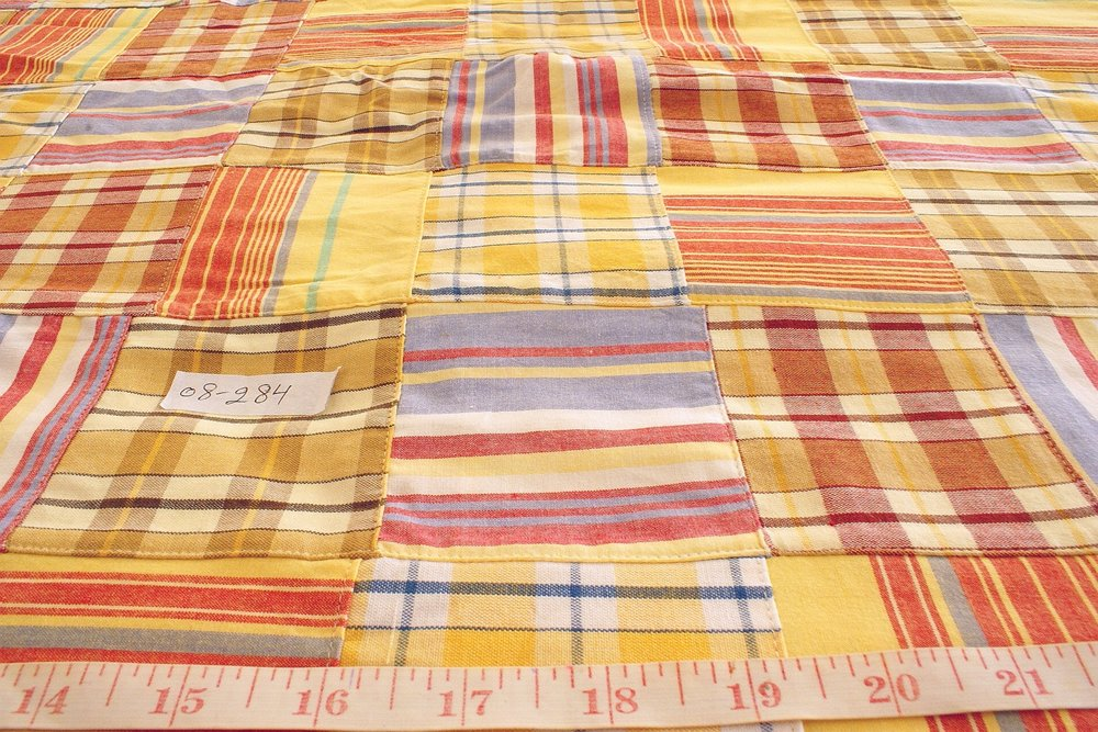 Preppy Patchwork Plaid - Madras cotton plaid fabric patches sewn together into a fabric ideal for preppy clothing, kid's clothing and menswear.