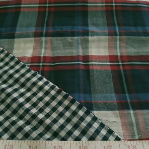 Plaid DoubleCloth Fabric with one side madras plaid, and the reverse side in ginham check, for dresses, shirts, and jackets or coats.