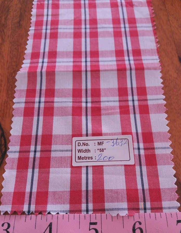 Madras Plaid Fabric made of cotton yarns woven in a plaid pattern, for men's shirts, jackets, ties, bowties and plaid clothing. Also known as check fabrics.