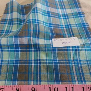 Plaid Fabric or madras plaid is made of cotton yarns in a plaid pattern. It is a summer preppy fabric, for shirting, menswear, kids clothing and beach wear.