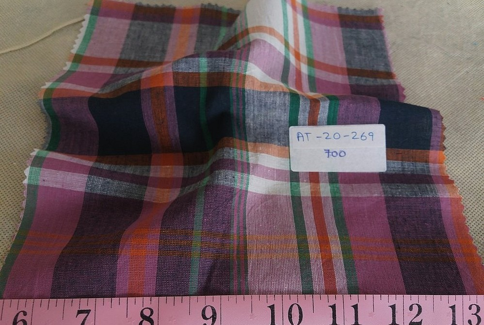 Plaid Fabric or Madras Plaid fabric, used for men's shirts, vintage clothing, children's classic clothing, bowties and ties.