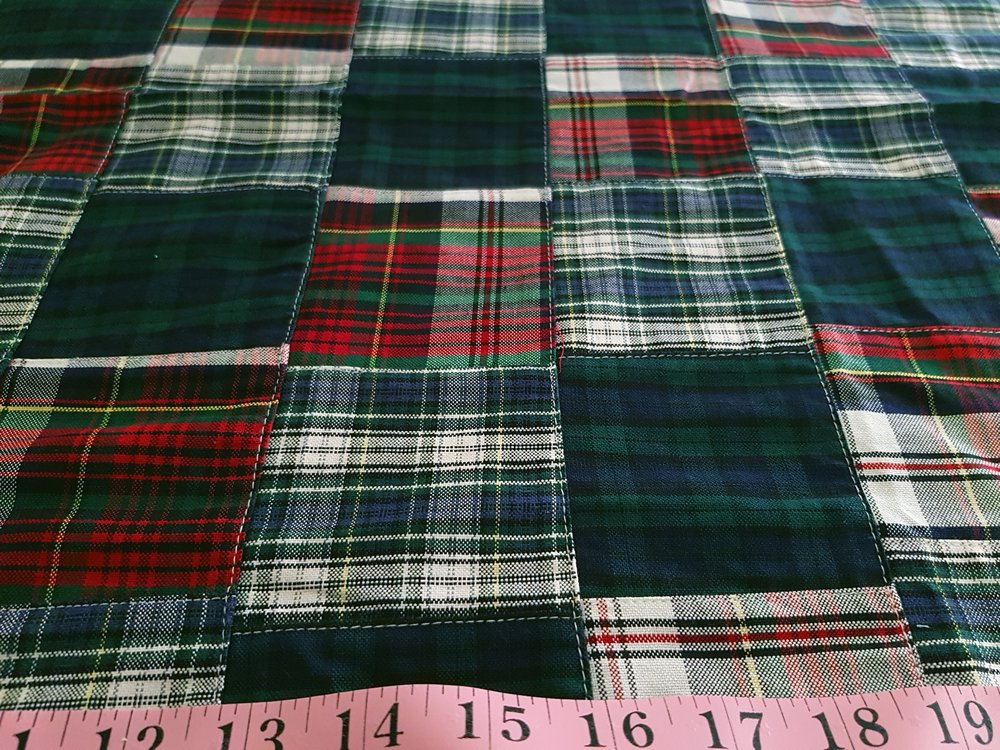 Patchwork Madras Fabric made of Indian cotton madras plaids & blackwatch tartan, sewn together, for preppy children's & men's clothing.