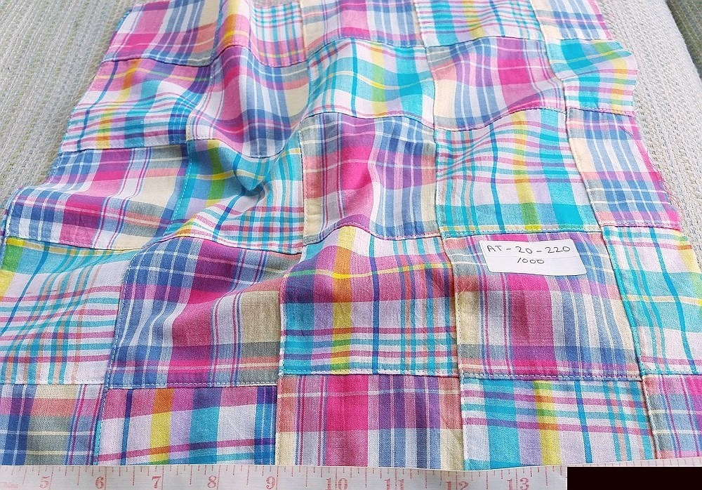 Patchwork Madras Fabric - plaid madras squares sewn together, for girl's clothing, smocked clothing, monogrammed apparel, handmade handbags and headbands.