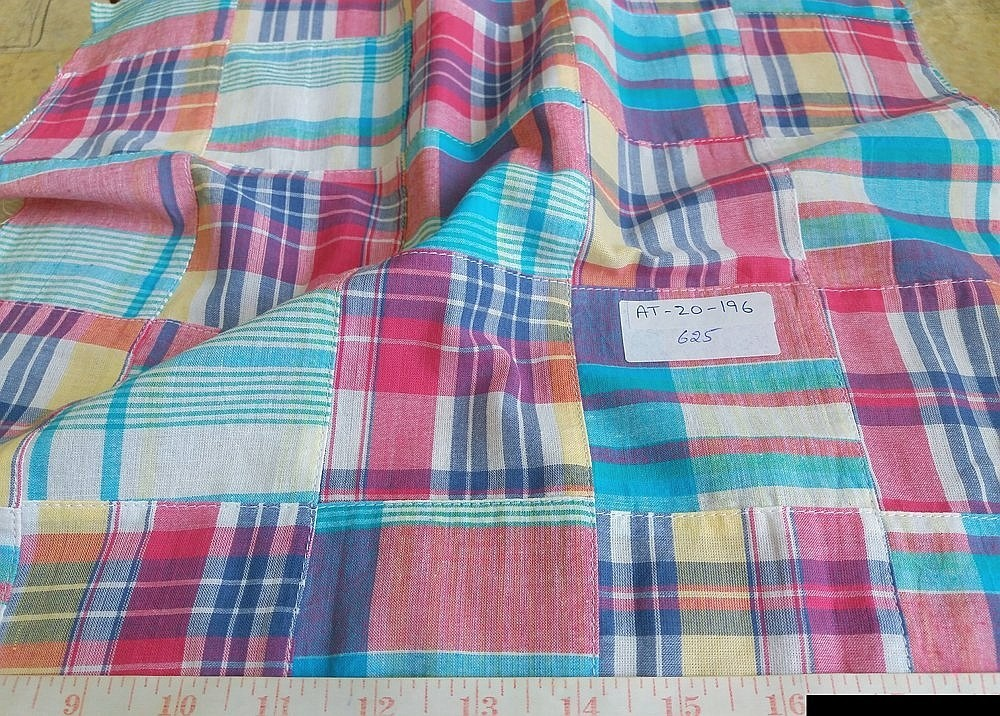 Patchwork Madras Fabric for vintage menswear, classic children's clothing, sportcoats, pants, shorts and plaid clothing for pets such as dog clothing.