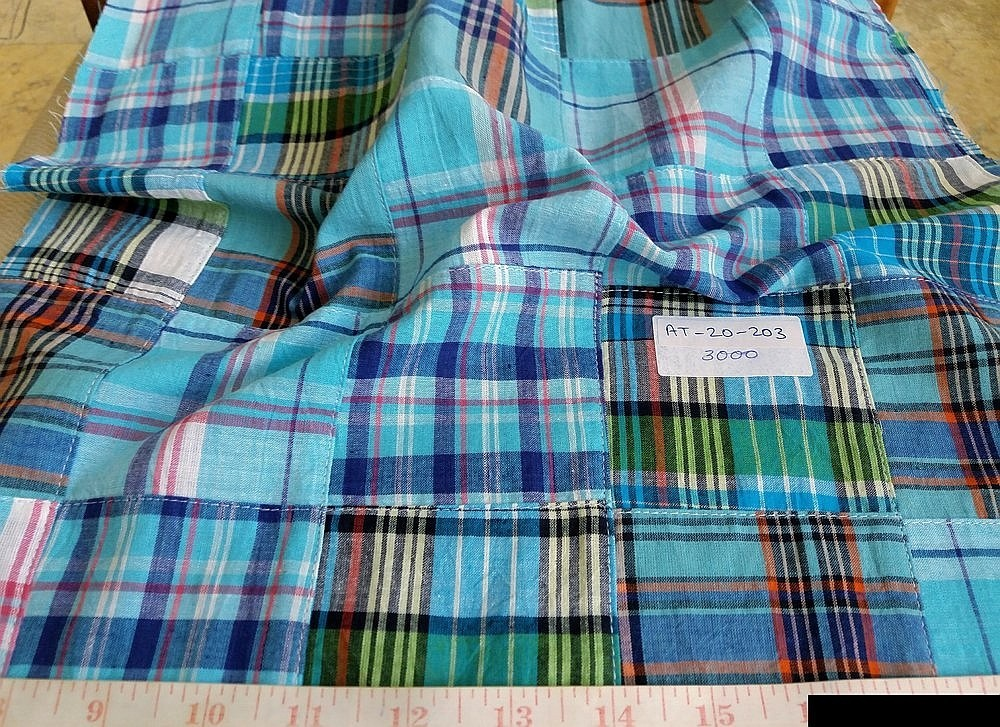 Patchwork Madras Fabric in preppy colors for madras shorts, men's shirts, madras sport coats, jackets, classic clothing and vintage apparel.