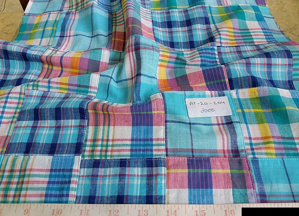 Patchwork Madras Fabric in preppy colors for madras shorts, patchwork pants, men's shirts, madras sport coats, jackets, classic clothing and vintage apparel.