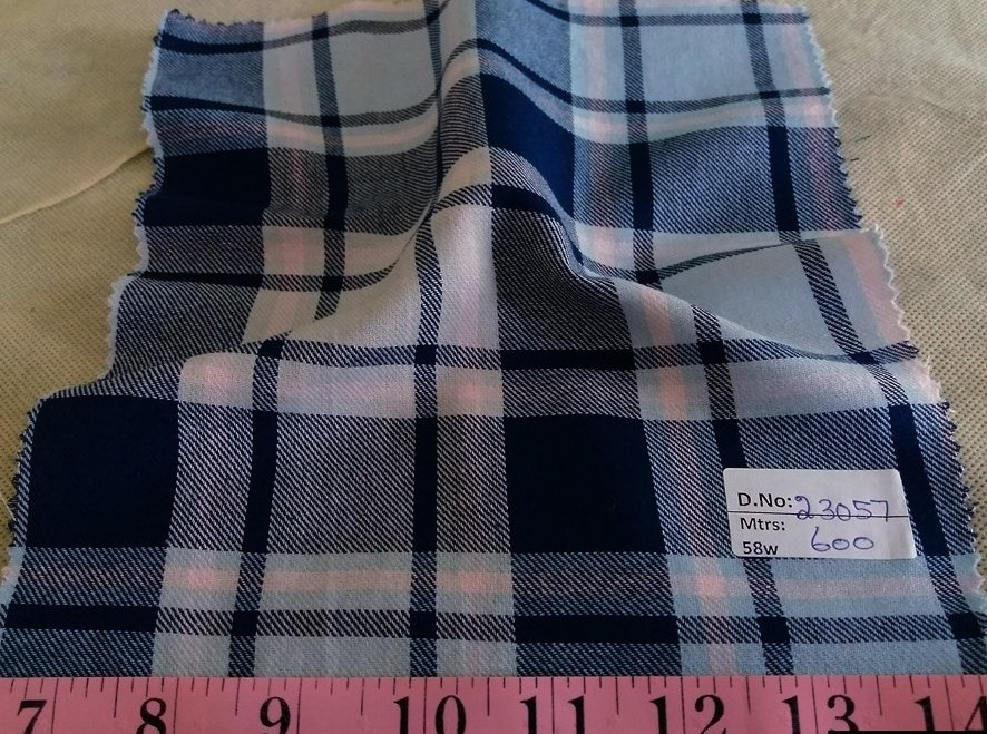 Twill Madras Fabric, brushed like flannel or plain twill madras, for men's shirts, hunting and fishing shirts, and twill dresses.