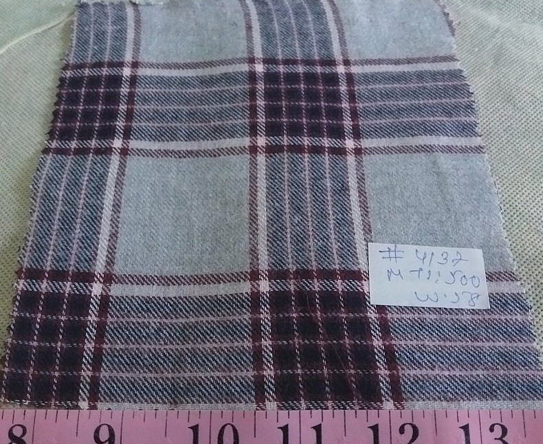 Flannel Madras Plaid Fabric made of cotton, for flannel shirts, flannel dresses, flannel caps and hats, and flannel jackets.