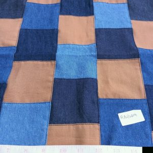Denim patchwork fabric for classic children's clothing, vintage menswear, denim jackets, totes and bags, and denim skirts.