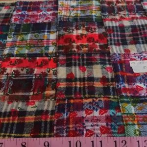 Flannel patchwork plaid fabric, with prints and plaid, for men's shirts, outdoor clothing, Fall clothing and vintage menswear.