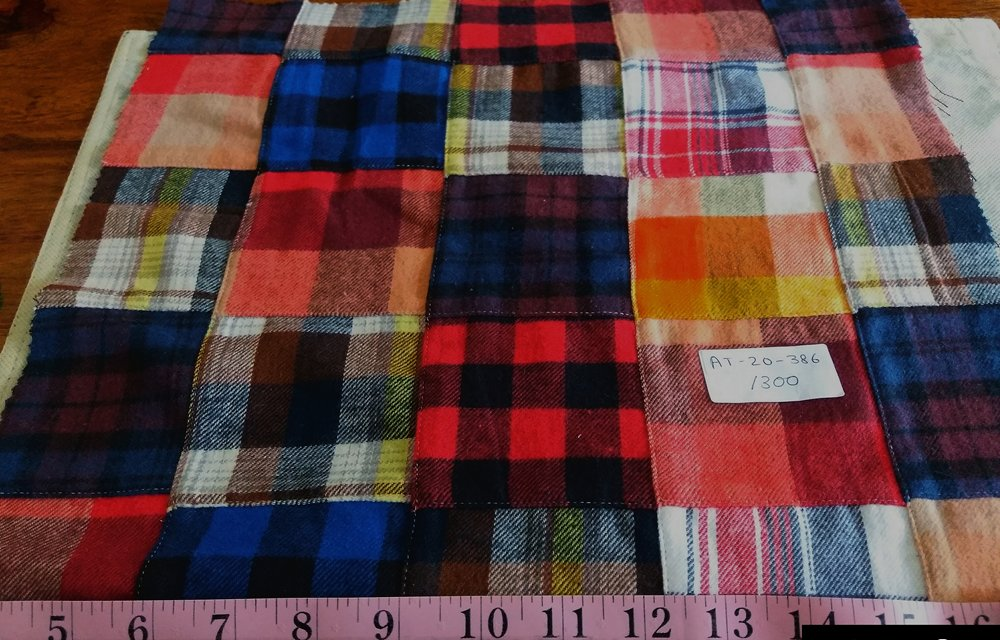 Flannel Plaid or flannel madras fabric made of cotton, for flannel shirts, flannel dresses, flannel caps and hats, and flannel jackets.