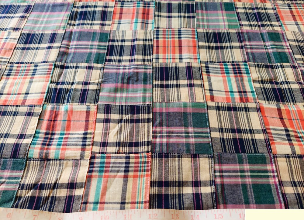 Patchwork Madras - patchwork plaid fabric made of madras plaids of various colors, used for preppy menswear & classic children's clothing.